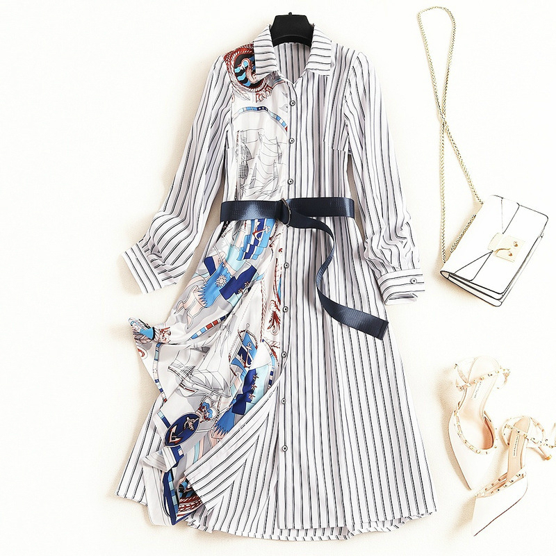 Europe Plius Size Korean Fashion Office 2019 Autumn Printed Striped Single Row Buckle Long Sleeves Sashes Stitching Women Dress