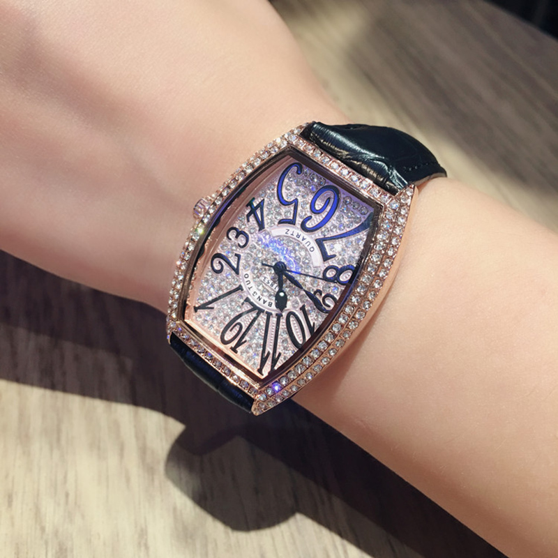 Hot Luxury Couple Watch Wine Barrel Rose Gold Shell Multi Color Belt Quartz Movement Full Zircon Watch Waterproof Women's Watch