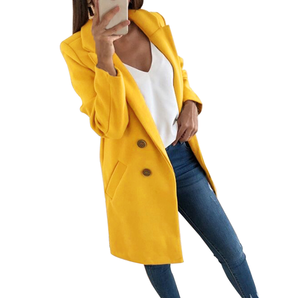 Fashion Autumn Long Coat Women Turn Down Collar Solid Yellow Coat Casual Lady Slim Elegant Blends Outerwear Clothes 2019
