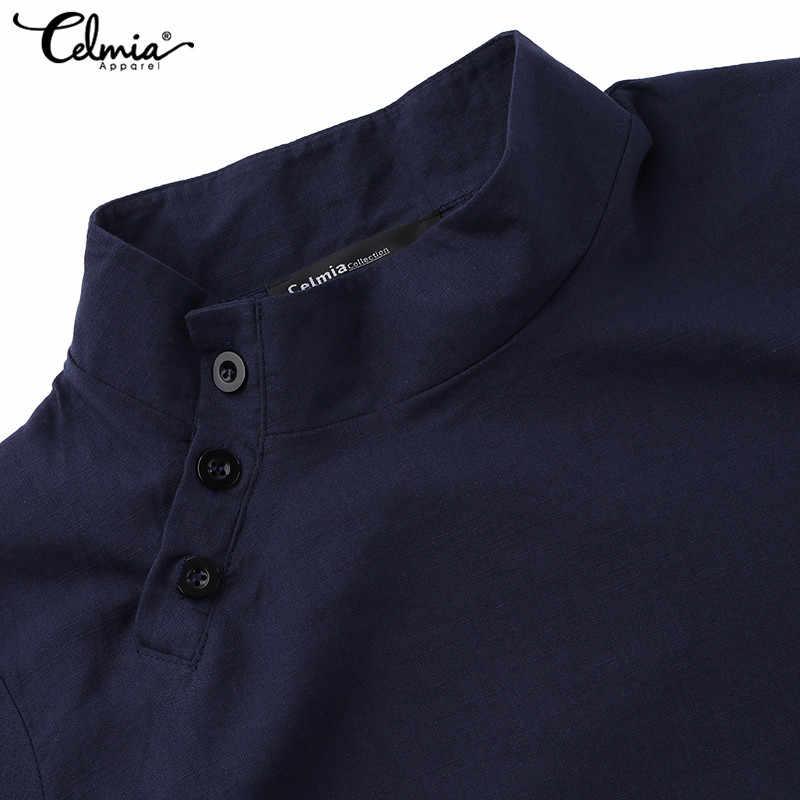2019 Модные женские рубашки, винтажные топы-туники, женские повседневные блузки на пуговицах из хлопка и льна, свободные блузки размера плюс