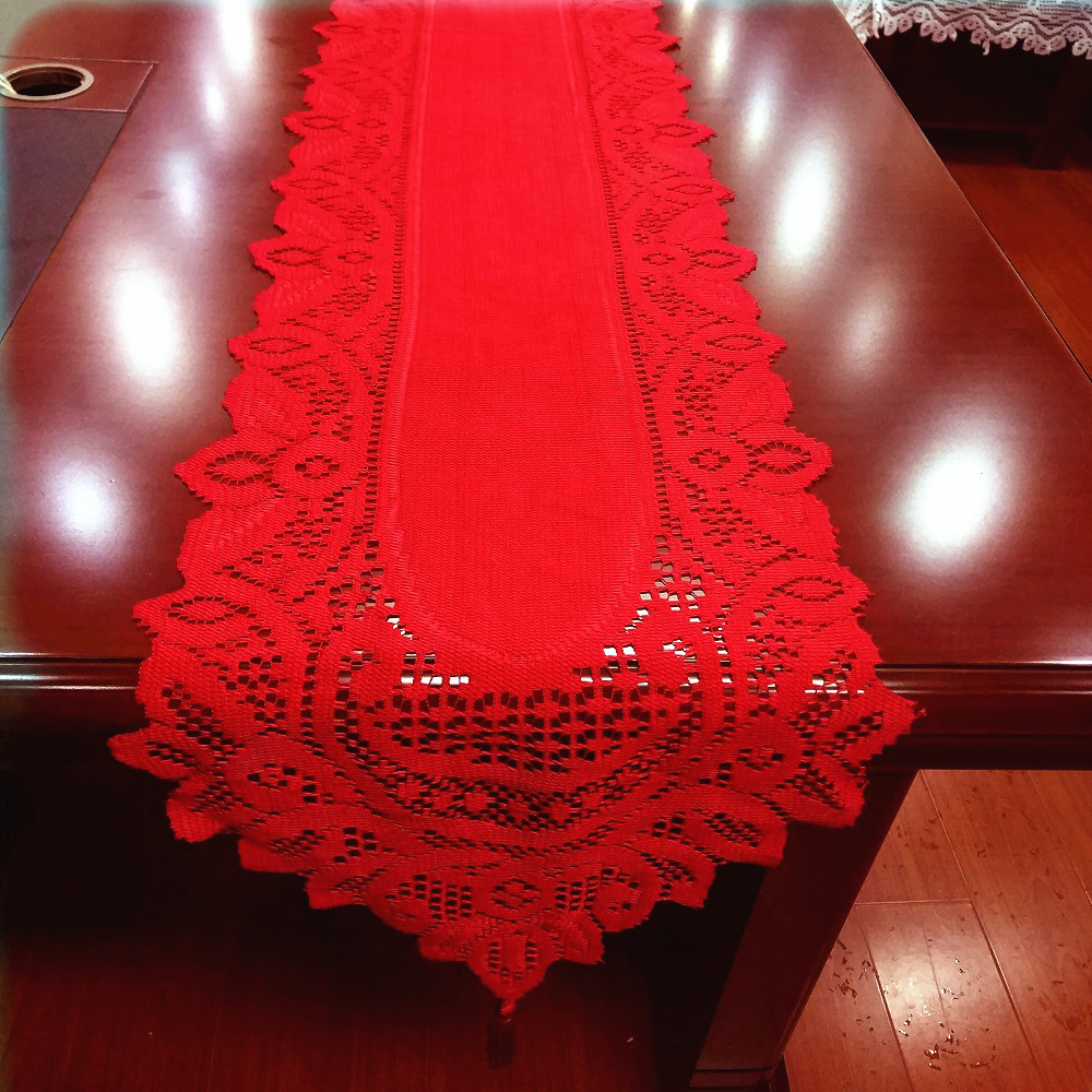1pcs 33x180cm Christmas White Red Lace Table Runner Tassels Flower Table Cover For Home Kitchen Tablecloth Wedding Party Supply