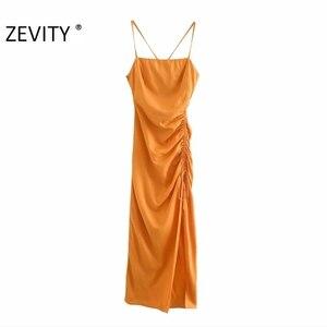 Zevity women elegant v neck solid color side pleated split long halter dress lady side zipper vestidos chic party dresses DS4351