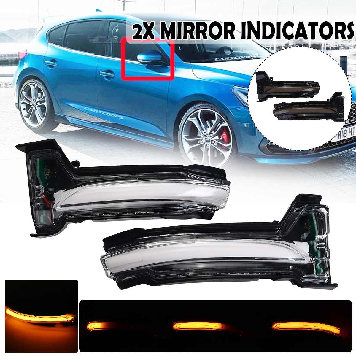 2 шт. струящийся указатель поворота светильник светодиодный боковое крыло зеркало заднего вида динамический индикатор мигалка для Ford Focus 4 ...