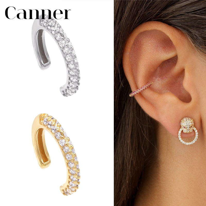 1 PC 925 Sterling Silver Ear Cuff Clip On Earrings Charming Zircon Clips Earrings For Women Gold Color Earcuff Without Piercing