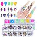 Swarovsky 12 Сетки мульти-размеры кристалл AB бриллиантами 3D, украшение для ногтей, драгоценные камни для дизайна ногтей Стразы Украшения