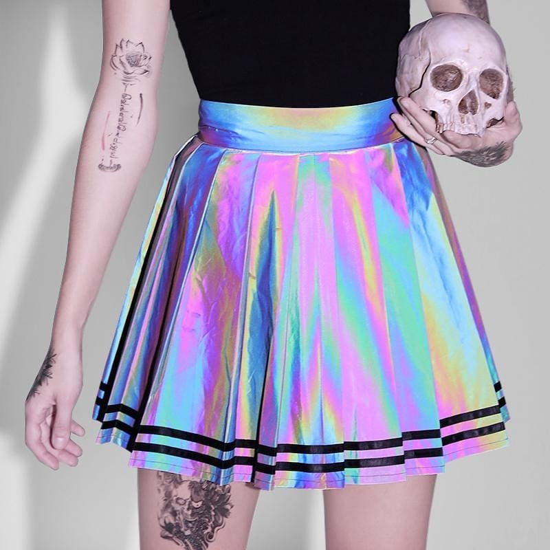 SUCHCUTE Reflective Women Skirt A-line Modis Gothic Sexy Pleated Mini Skirts Spring 2020 New Fashion Streetwear Party Outfits