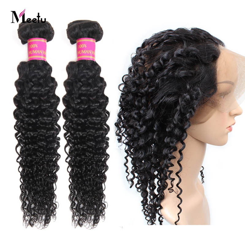 Meetu Mongolian Kinky Curly Hair 360 Frontal With Bundles Non Remy 2 Bundles With Frontal 100% Human Hair Bundles With Frontal