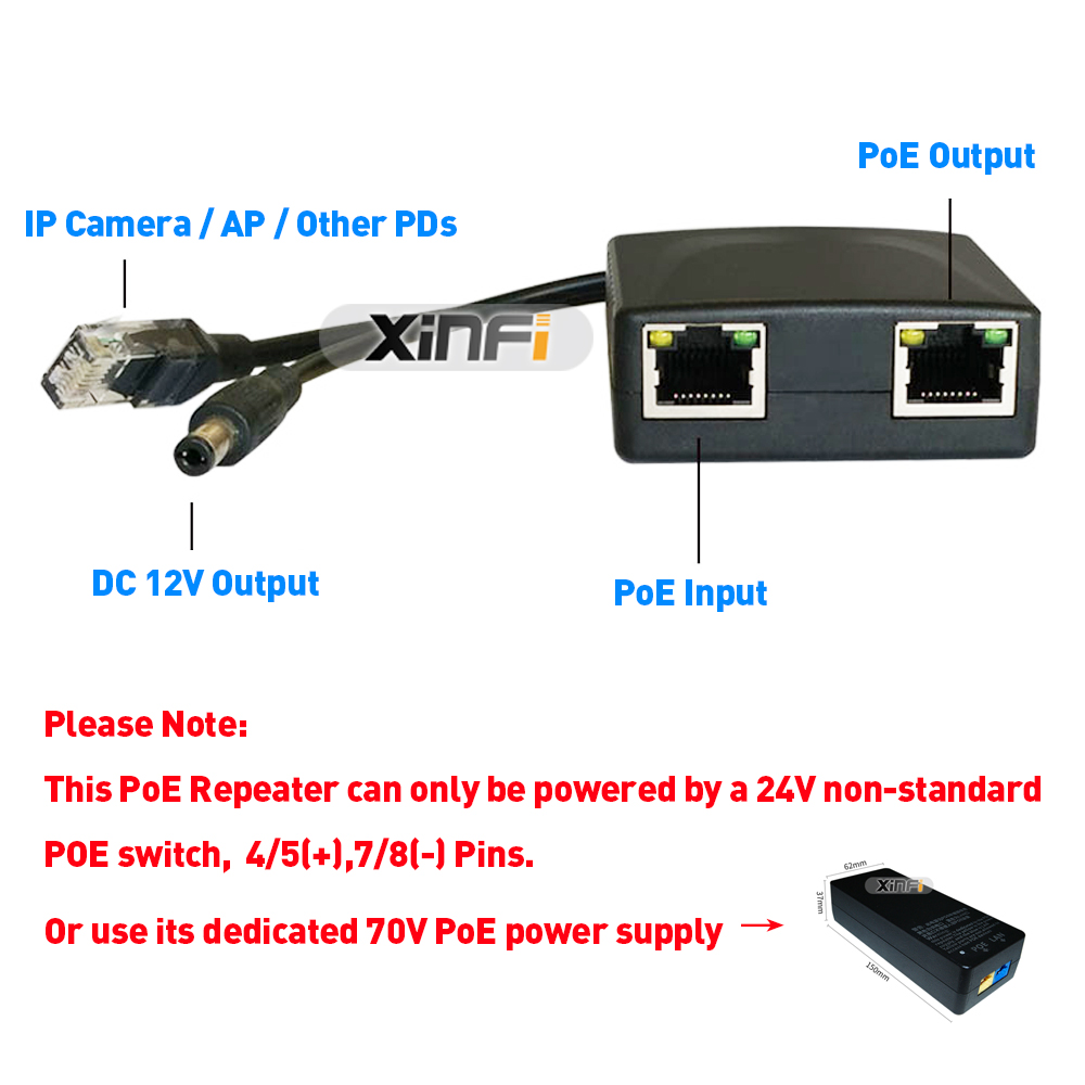 Image 3 - XINFI 24 70V DC Input 12V2A Output PoE Splitter/Extender/Repeater DC 5.5*2.1 For IP Camera/AP Cascading Mode Easy InstallationTransmission & Cables   -