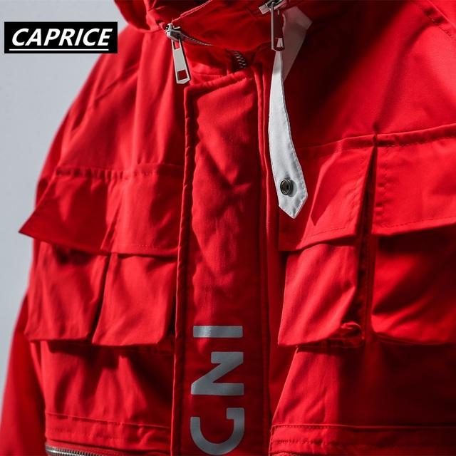 Multiple pockets Hip Hop Windbreaker Overcoats Men Jackets 2019 Vintage Color Block Windbreaker Zip Up Casual Streetwear Jacket