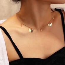 Ожерелье бабочка подвеска цепочка до ключицы чокер из сплава