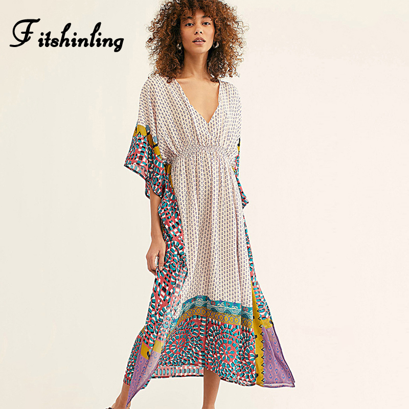 Fitshinling Geometric Print Vintage Maxi Dress Beach Wear 2020 V Neck Batwing Sleeve Pareo Oversize Robe Swimsuits Cover Up New