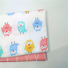 Owl Printed Fabric Child Clothing Cotton Twill DIY Sewing Quilted Dormitory Decoration Home Textile