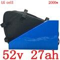 Бесплатный Таможенный налог 52V треугольник литиевая батарея использовать сотовый телефон LG 52V 27AH Электрический велосипед батарея для 48V 1000W ...