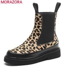 MORAZORA 2020 en kaliteli at saç yarım çizmeler kadınlar için leopar sonbahar kış çizmeler üzerinde kayma kalın topuklu rahat ayakkabılar kadın