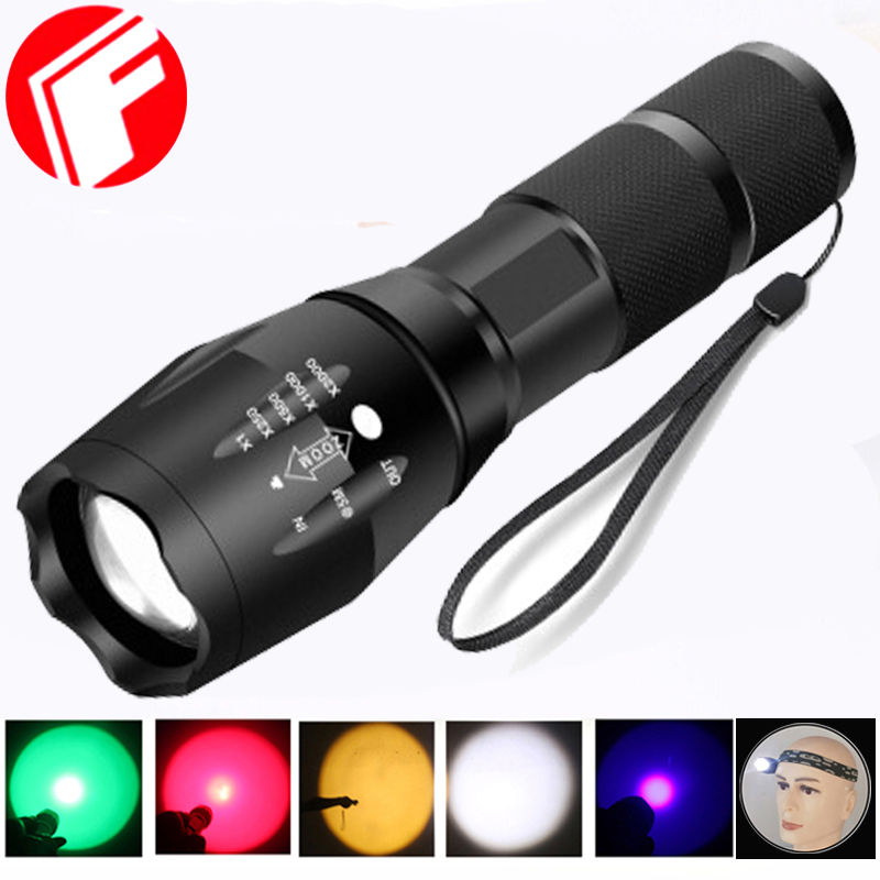 Led Flashlight XML T6 Torch Outdoor Camping 5 Colors Portable Lights Rechargeable Zoomable Hand Light 18650 Battery For Hunting