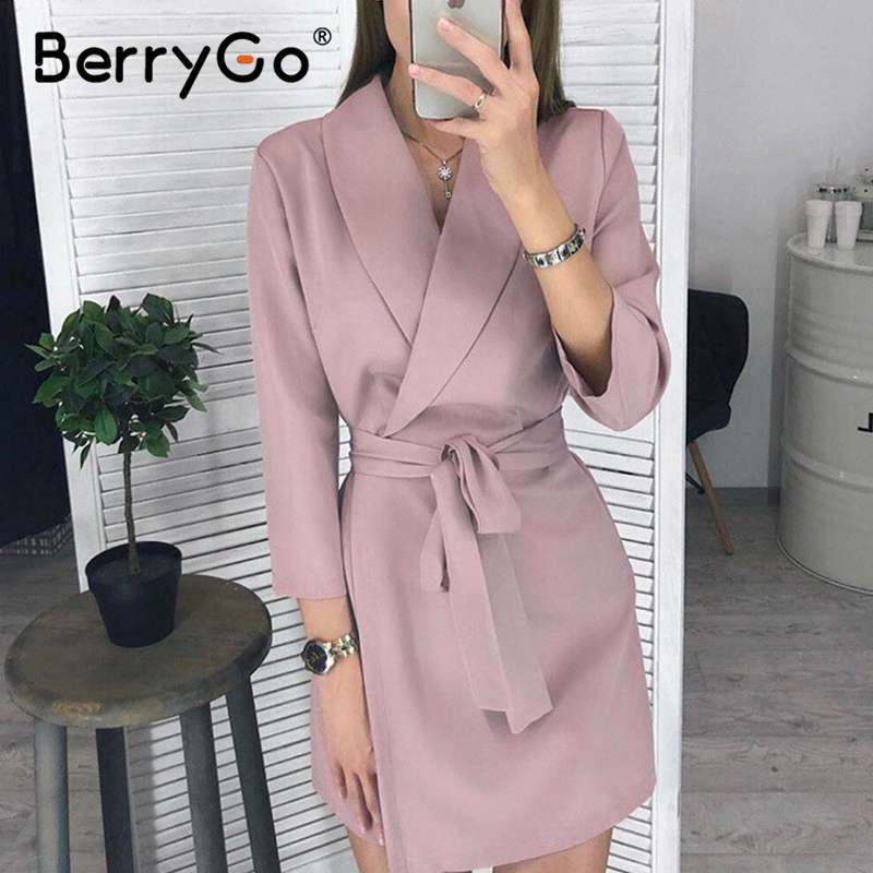 BerryGo V-neck Work Wear Office Dress Women High Waist Long Sleeve Pink Blazer Dress Plus Size Sash Casual Spring Dress Vestidos