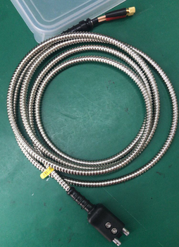 6ft Armored cable equivalent cable of KrautKramer Style DM Type Dual plug Lemo 00 to Dual Microdot