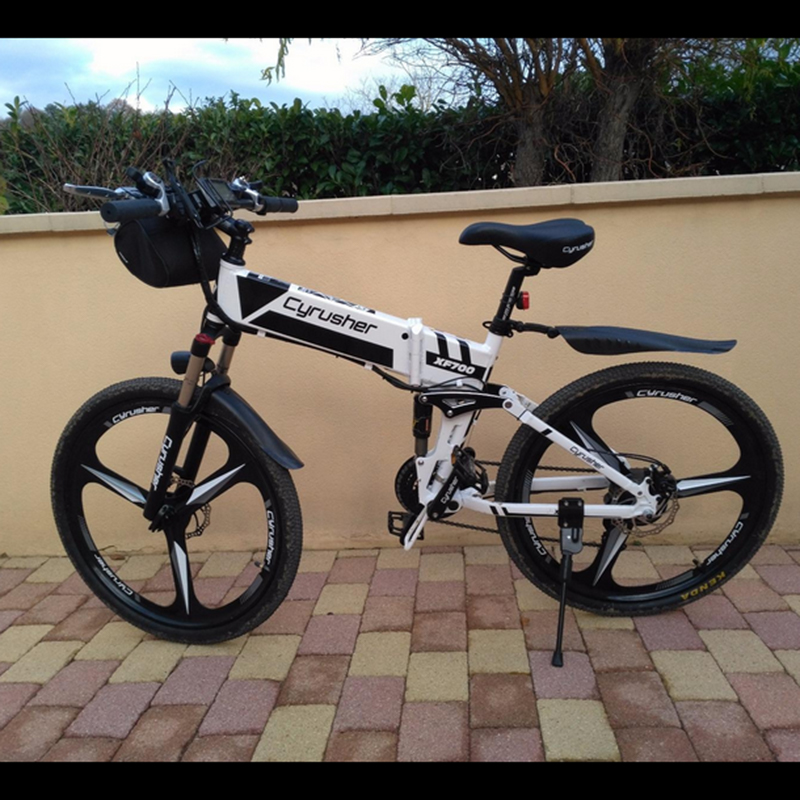 XF770 Folding Electric Mountain Road Bike 48V 500W full suspension 3 Spokes Magnesium Alloy Wheelset ebike Mechanical Disc Brake