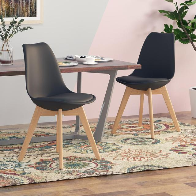 4Pcs/set Modern Style Chair Dining Chairs Plastic Shell Lounge Chair Natural Wood Legs Comfort Coffee Chairs with Seat Cushion 6