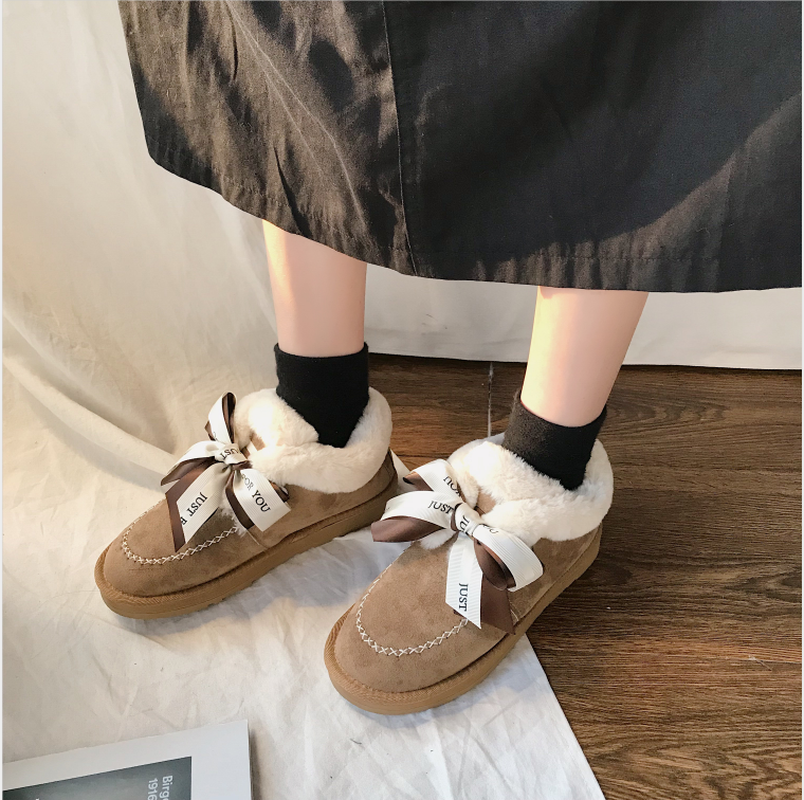 New Autumn Flat Keep Warm Ankle Boots Women Lace Up Short Plush Snow Boots Shoes Woman Winter Cotton Shoes Women Chaussure 2019 51