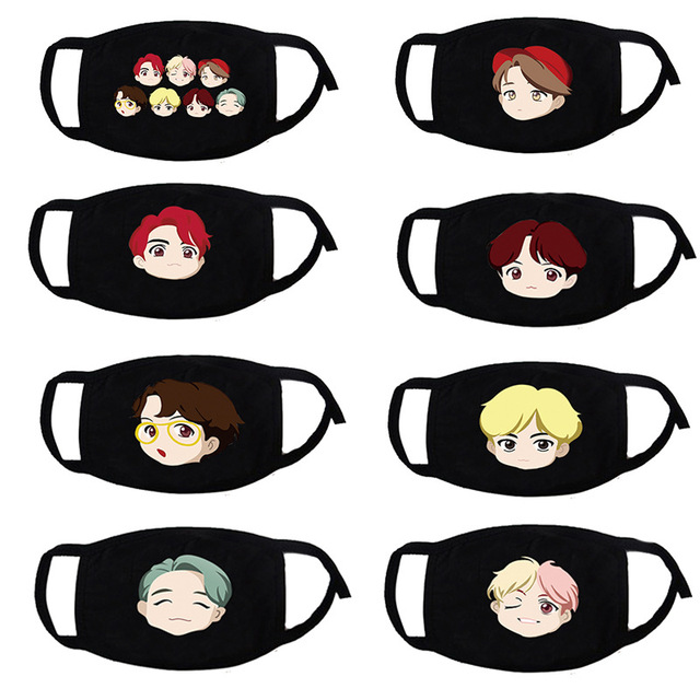 Cute Cartoon Bangtan Characters Mouth Face Mask Dustproof  Kpop for Women Men Unisex Black Cotton Masks