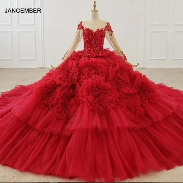 HTL1280 Luxe Shiny Vrouwen Gelegenheid Jurken O hals Lange Mouwen Lace Up Back Red Lace Engagement Jurk Lange Met Lange Trein