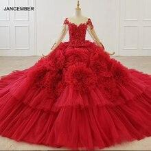 HTL1280 Роскошные блестящие женские платья с круглым вырезом с длинным рукавом Кружевное обручальное платье красного цвета с длинным шлейфом
