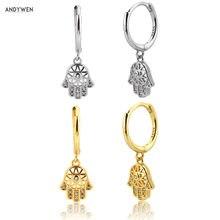 ANDYWEN 925 srebro koło Hamsa ręcznie spadek kolczyk 2020 moda biżuteria Fine Crystal Piercing dla kobiet cyrkon CZ klejnoty