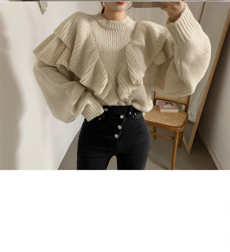 H0e67aabe29cd48aeb59c27be4073dbf7b - Autumn / Winter Korean O-Neck Loose Solid Knitted Sweater