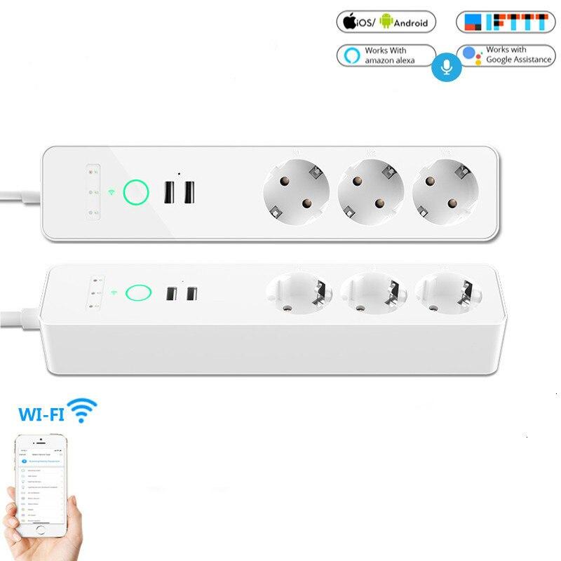 Prise de courant intelligente EU Wifi 3 prises prise 2 Port de chargement USB synchronisation Tuya App commande vocale travailler avec Alexa Google Home