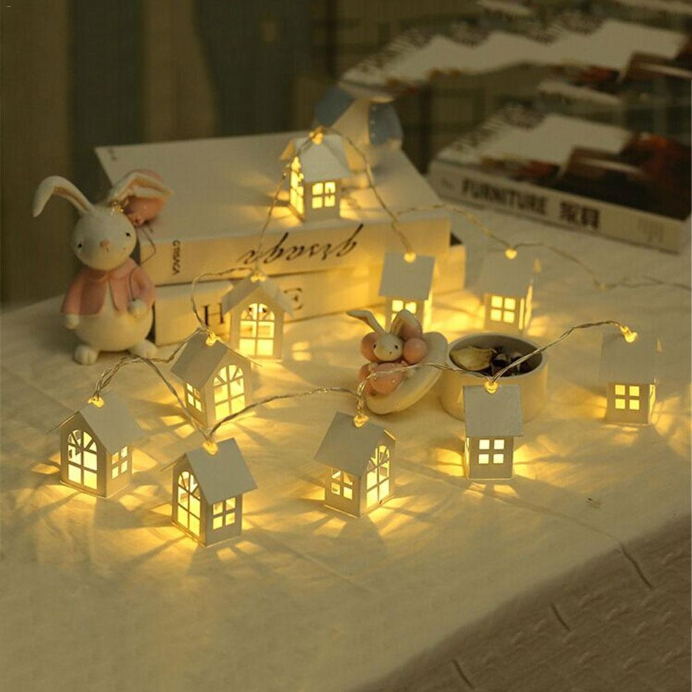 LED Garland Wood House String Light 2/3/4m 10/20LEDs Room Decor String Lamp Wedding Party Holiday Fairy Lights Novelty Lamp
