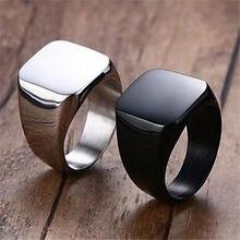 Simples preto suqare anel masculino jóias prateadas dedo anéis para as mulheres da forma do vintage anéis de noivado das senhoras anel de noivado presentes de festa