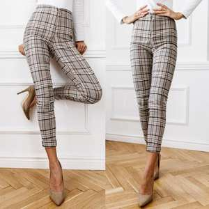 Trousers Pencil-Pant Checkered Classic Plaid Print Autumn Long Female Office Lady High-Waist