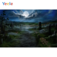 Yeele Halloween Moon Horror Tombs Mount Flowers Road Photography Backdrop Personalized Photographic Backgrounds For Photo Studio