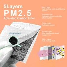 2 قطعة/50 قطعة/100 قطعة PM2.5 الكربون المنشط ورق فلتر مكافحة الغبار تنفس قناع الوجه غير المنسوجة الكربون المنشط ورق فلتر