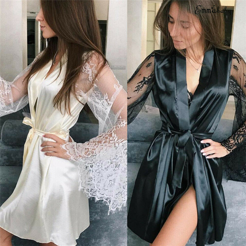 Plus Size Women Satin Silk Nightdress Lingerie Sleepwear Dress Robe Nightie Gown