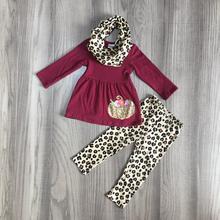 ใหม่วันขอบคุณพระเจ้าเด็กหญิงฤดูใบไม้ร่วง/ฤดูหนาวฟักทองฮาโลวีน 3 ชิ้นผ้าพันคอไวน์เสือดาวกางเกงชุดบูติกผ้าฝ้ายเสื้อผ้าเด็ก