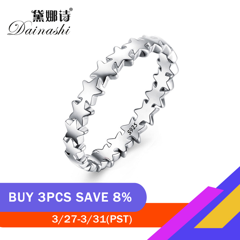 Dainashi 100% 925 Sterling Silver Stackable Ring Myriad Of Stars Around Finger Rings For New Fashion Women Wedding Jewelry Gift