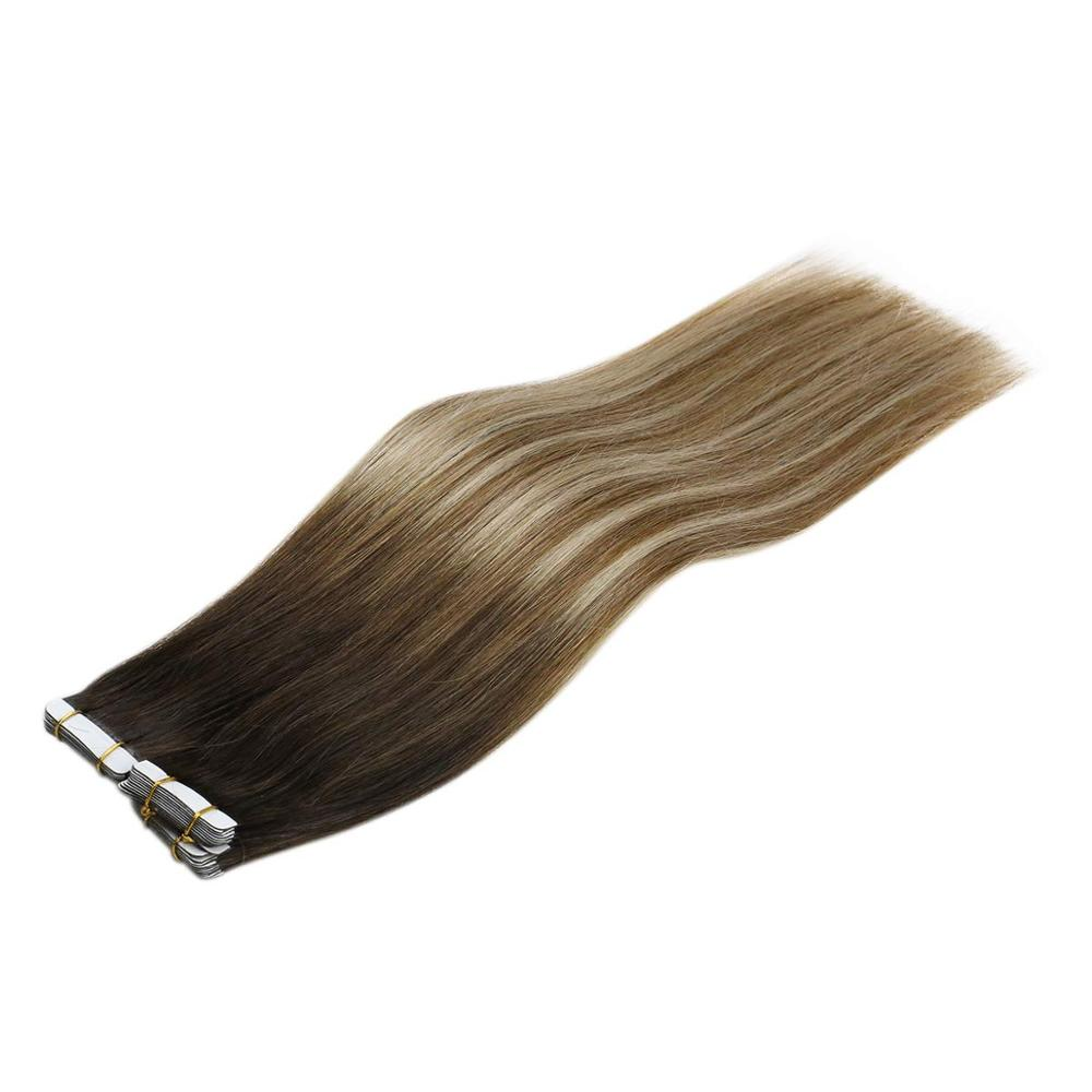 VeSunny Adhesive Tape In Hair Extensions 100% Real Human Hair 20pcs Balayage Dark Brown Highlights Blonde #2/6/24 50gr
