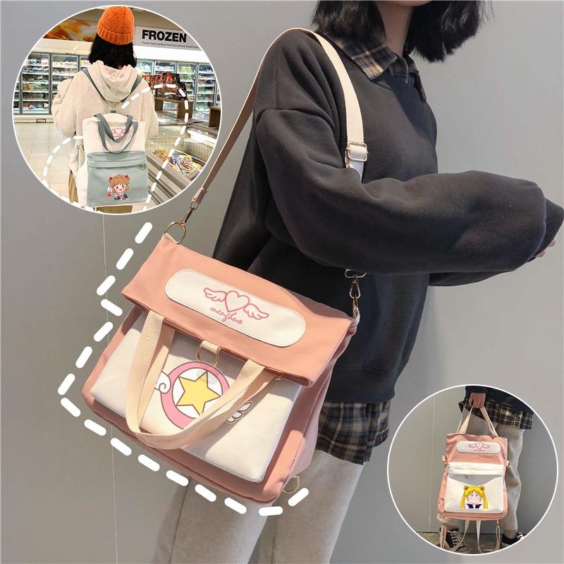 Card Captor Sakura Cosplay Backpack Fashion Print Canvas Crossbody Shoulder Bag Student School Bookbag Women Cute Travel Bagpack