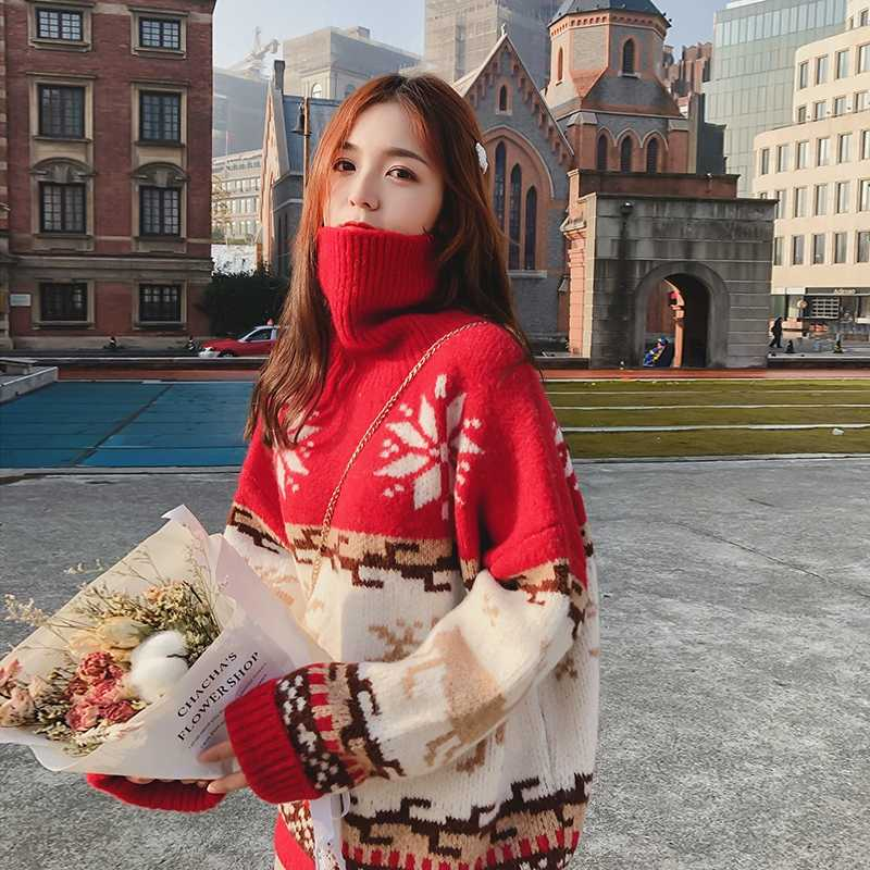 Christmas Sweater Women Snowflake Elk Turtleneck Autumn Winter Jumper Loose Thicken Pullovers Warm Vintage Harajuku Coat V769
