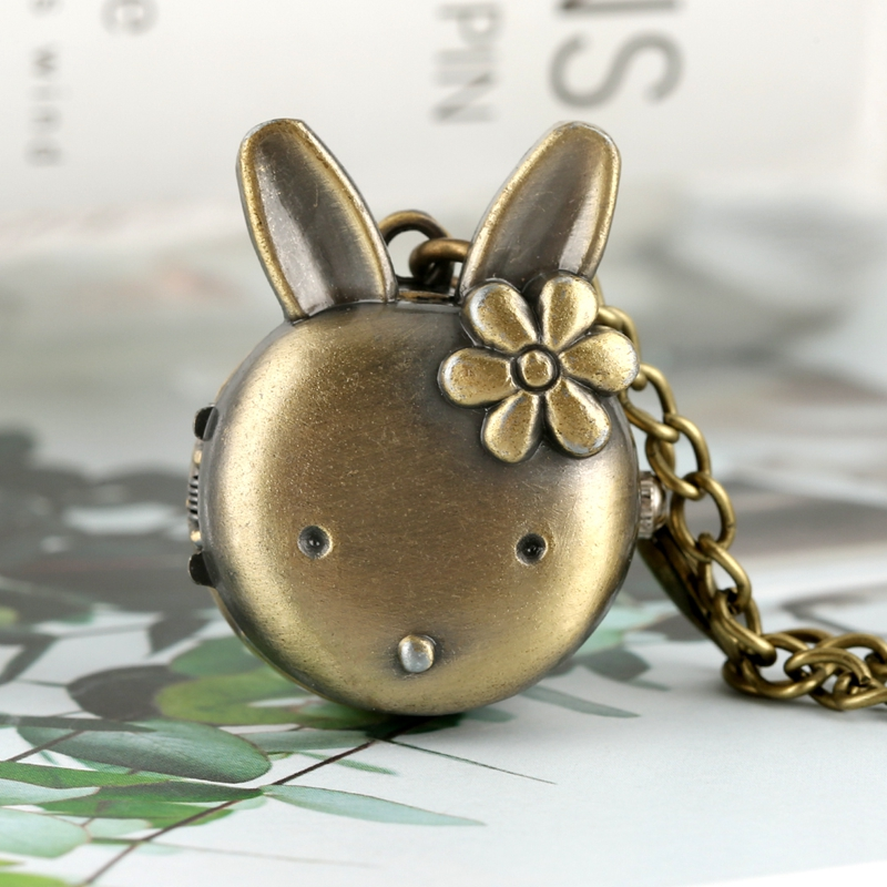 Women's Lovely Rabbit Shape Flower Pocket Watch For Girls Retro Bronze Classic Full Hunter Pendant Chain Necklace Watch Kids Toy