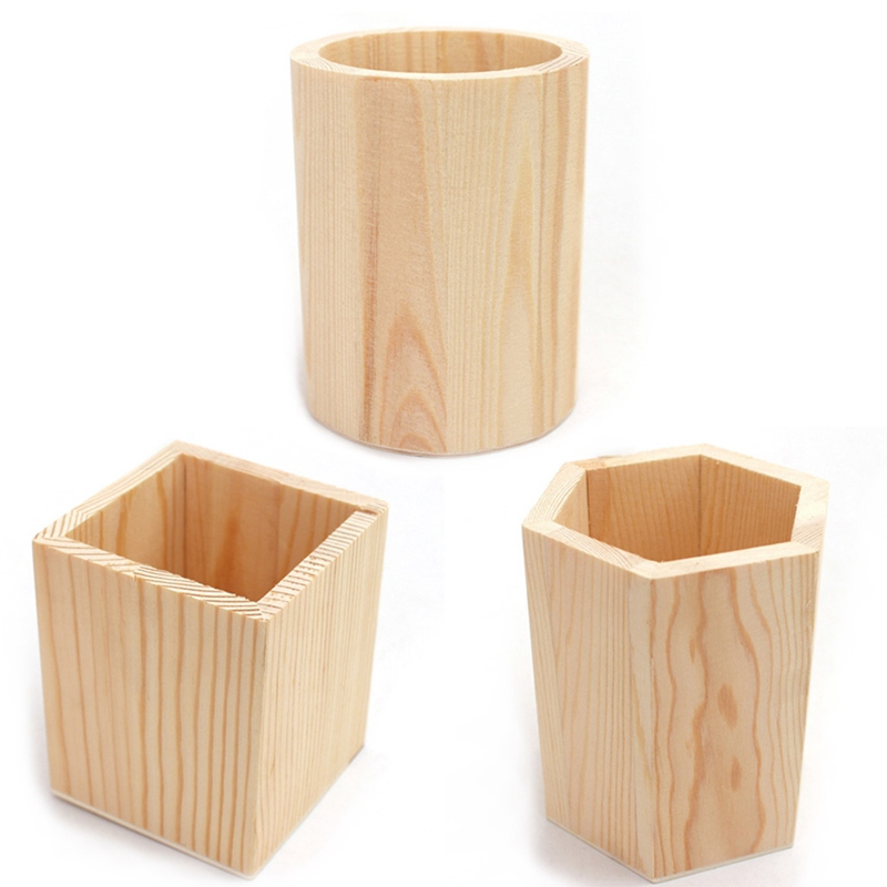 Multifunctional Wooden Office Organizer Fashion Lovely Design Pencil Holders Desk Office Accessories Pen Holder 3 Size
