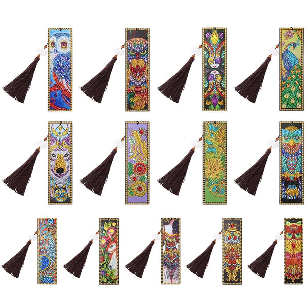 DIY Leather Bookmark Retro Pattern Special Shaped Diamond Painting Creative Tassel Book Marks Handmade Craft Gifts Dropshipping