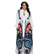 S-XXXL women new 3D butterfly printed long sleeve turn-down neck high waist fit flare long maxi dress casual vestidos(China)