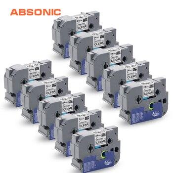 Absionc 10PK Label TZe-151 TZ-151 TZe151 TZ151 Black on Clear Compatible Brother P-touch TZe Standard Adhesive Tapes Label Maker