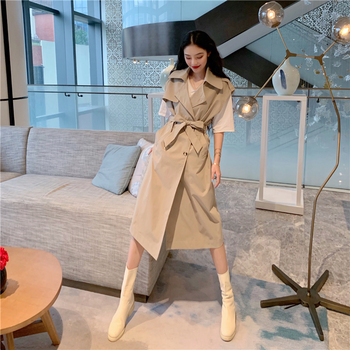 Fashion Korean Style  Women's Vest Trench Coat Double-Breasted Long with Belt Office Lady Windbreaker Spring Autumn Cloak fashion new women trench coat long double breasted belt blue khaki lady clothes autumn spring outerwear