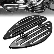 цена на Black Driver Floorboards Foot pegs Footrest For Harley Touring Softail Street Road Glide Fat Boy Dyna Road King Electra Glide