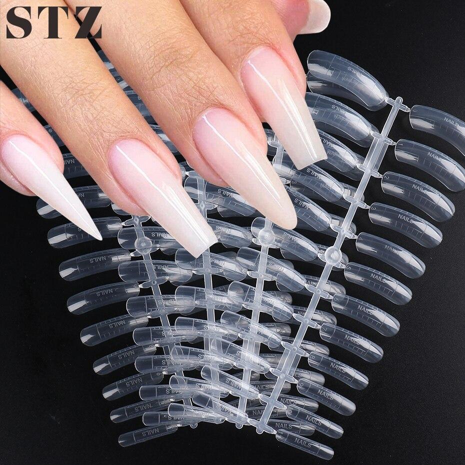 Быстросъемная Форма для ногтей STZ, Типсы с полным покрытием, акриловые накладные ногти, две формы, инструменты для наращивания ногтей #1020-1