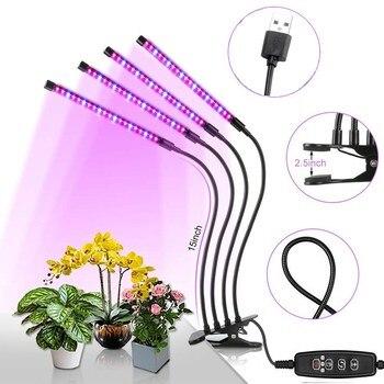 4 رئيس تنمو ضوء 5 فولت USB led مصابيح النبات الطيف الكامل فيتو مصباح للمنزل الخضار زهرة fitolampy تزايد السراويل خيمة نور